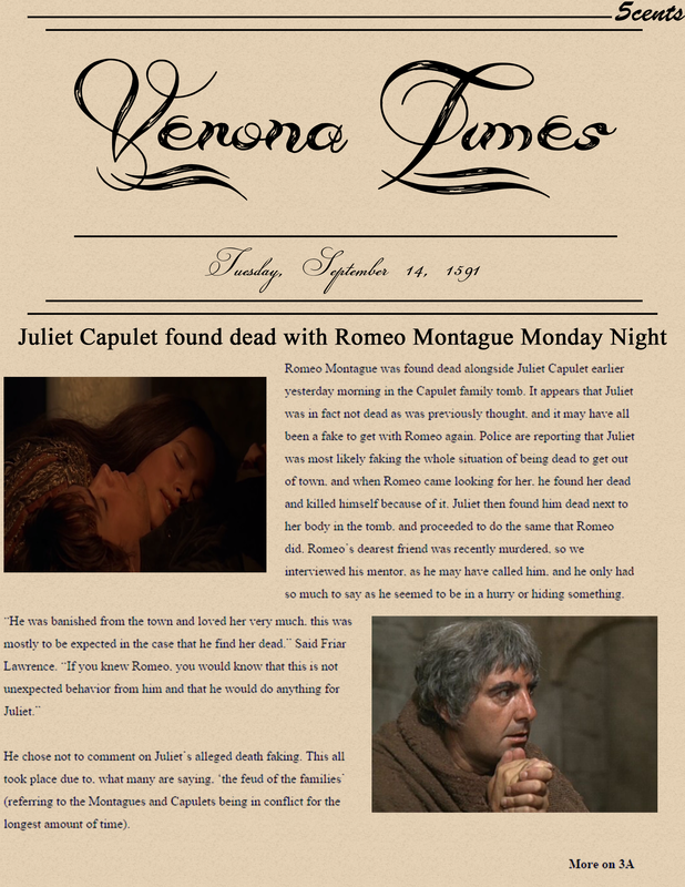 romeo juliet newspaper article Romeo & juliet newspaper at the party romeo and juliet saw each other for the first time and it looks like they fell in love.